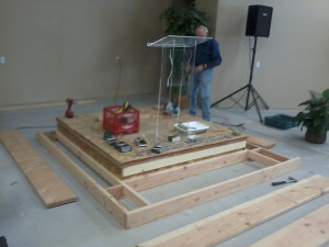 Chuck Helman, working on the temporary platform.